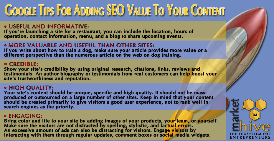 Google tips for adding SEO value