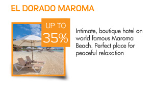 Save up to 35% at El Dorado Maroma – Intimate, boutique hotel on world famous Maroma Beach. Perfect place for peaceful relaxation