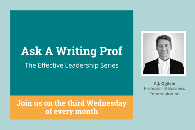 Monthly Writing Professor Q&A with A.J. Ogilvie