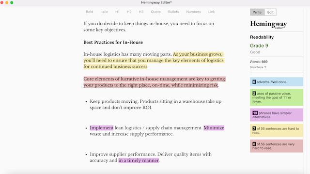 Hemingway's Edit tool screenshot