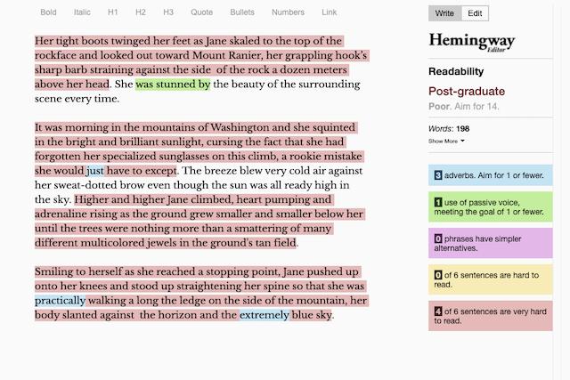 hemingway editor interface