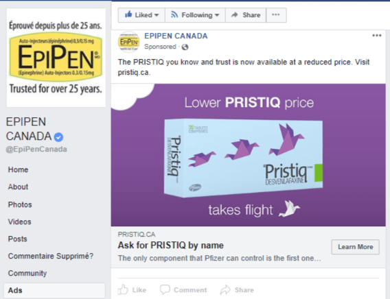 Epipen FB ad - Pristiq 1