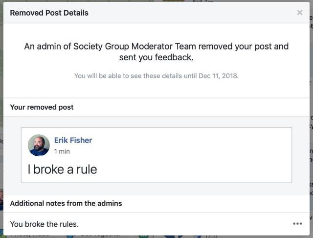 FB group rule broken - admins can now explain why removed comment