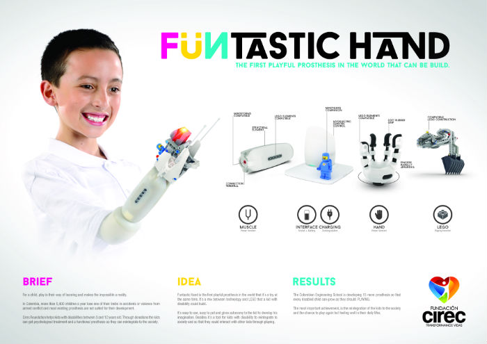 "PRODUCT DESIGN LION ""Funtastic Hand"" para CIREC Fundation de Publicis Colombia Bogotá, Colombia."