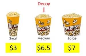 3 barattoli di popcorn con prezzi diversi