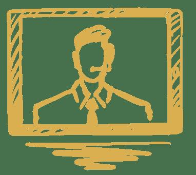 crisis communication illustration of man talking on computer screen.