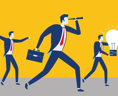 Illustration of businessmen looking toward teh future for the marketing control process article by Allen Stafford
