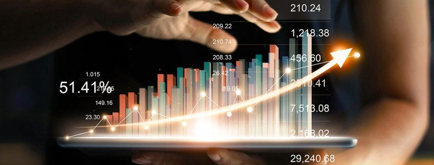 futuristic image of analytics graph for marketing expense to sales analysis article