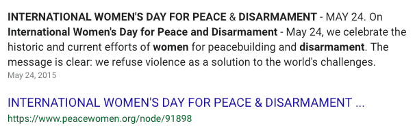 international women's day for peace and disarmament