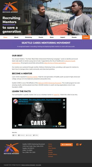 Seattle Cares Mentoring Movement affiliate website screenshot