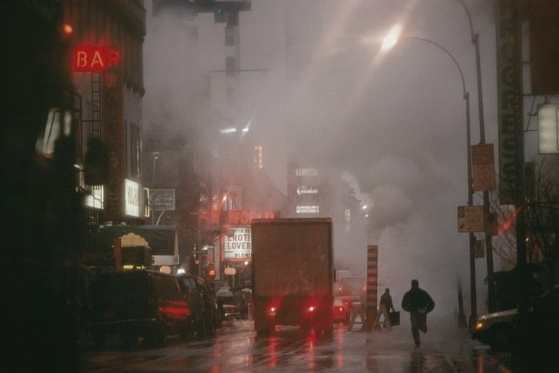 Steam pours over the streets of Broadway's Time Square.
