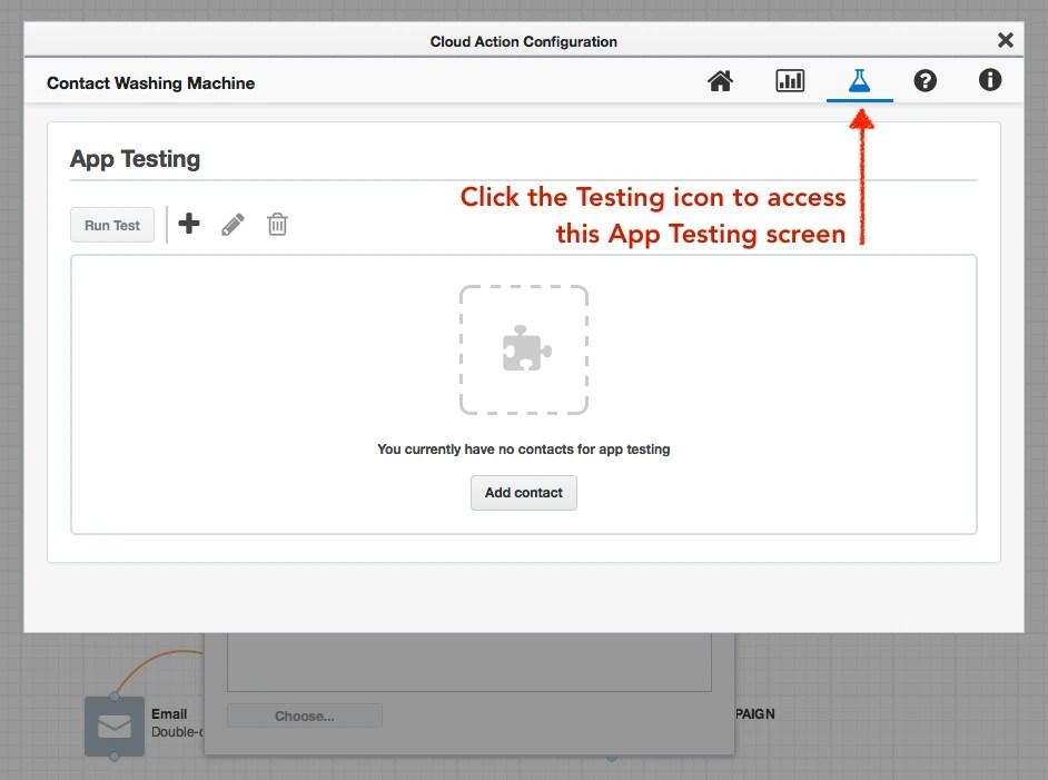 APP Contact Washing Machine Testing Interface