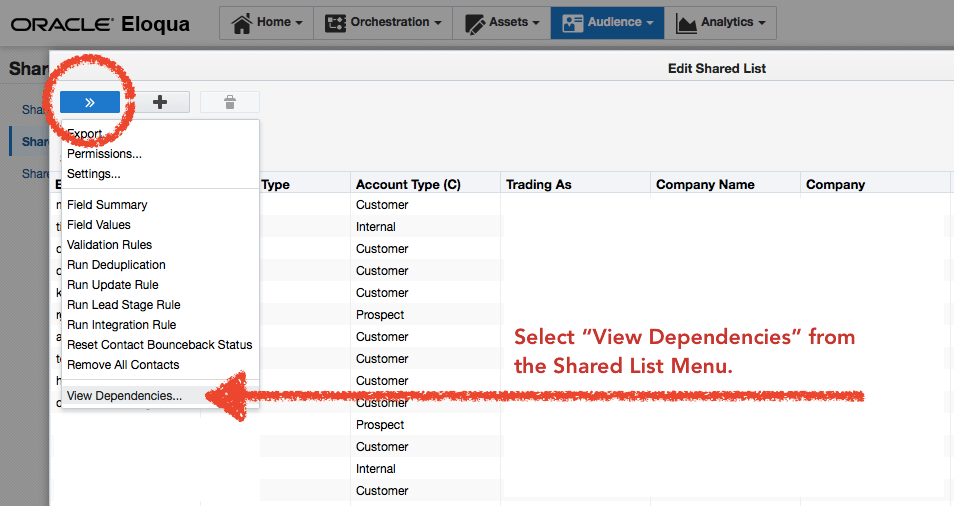 This screen shot shows a Shared  List. The same functionality is also available on Shared Filters.