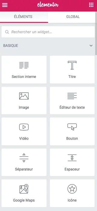 Les widgets de base dans elementor pour wordpress