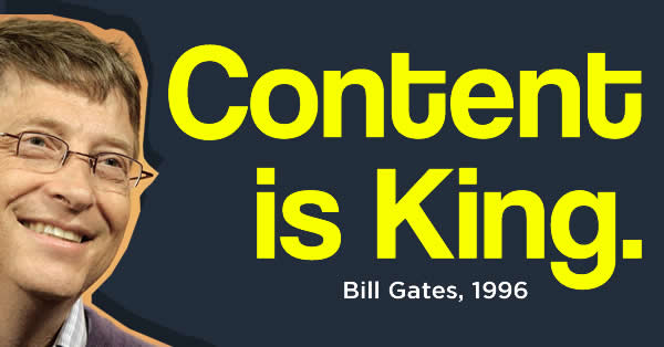 Foto do Bill Gates para ilustrar o marketing de conteúdo. Frase em inglês conteúdo é rei.