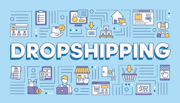 Infográfico com a palavra Dropshipping ao centro para ilustrar como começar no dropshipping