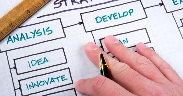 Mão sobre um papel trabalhando no mix de marketing e planejamento.
