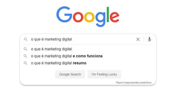"""Caixa de pesquisa do Google com o termo """"o que é marketing digital"""" sendo pesquisado."""