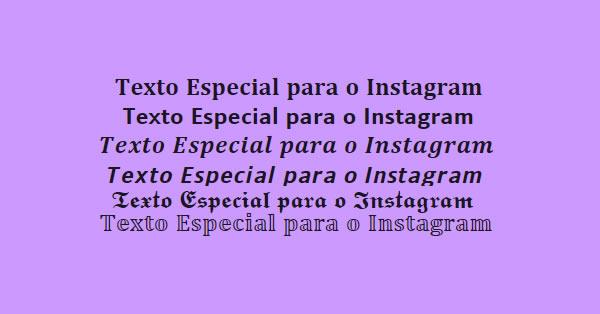 """Texto Negrito no Instagram com a frase """"Texto especial para Instagram"""" sobre fundo de cor sólida."""