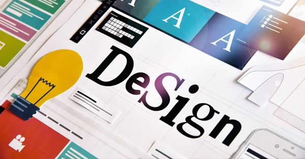 Palavra design estilizada pra ilustrar a importância do design e como o visual vende.