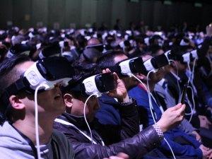 audience members using virtual reality.