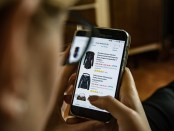 A person shopping online using a smartphone