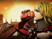Yoshiki as a CGI Titan from anime Attack on Titan, drinking Asahi Wonda coffee