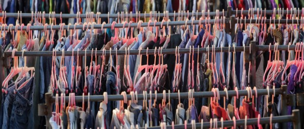 Lines of clothes in shop