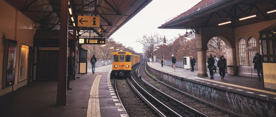 A train entering a train station.