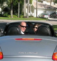 Rob and I in his Porsche off to Corkscrew Swamp