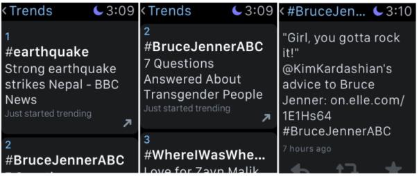 twitter trends on apple watch