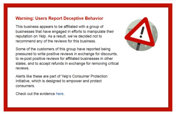 Yelp Warning