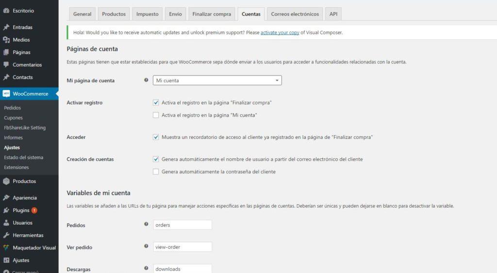pàgines de comptes usuari