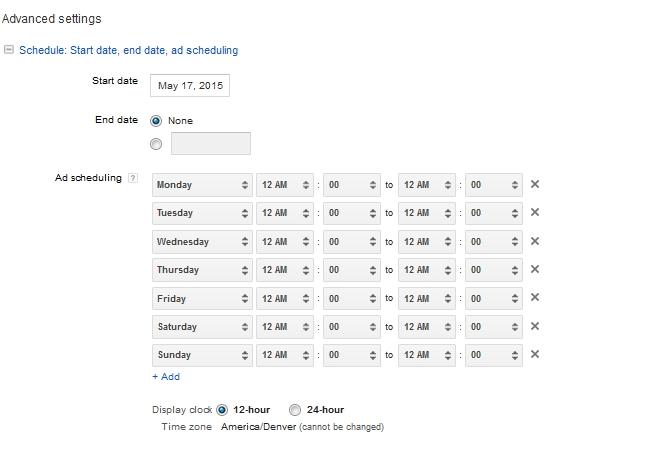 Adwords Scheduling