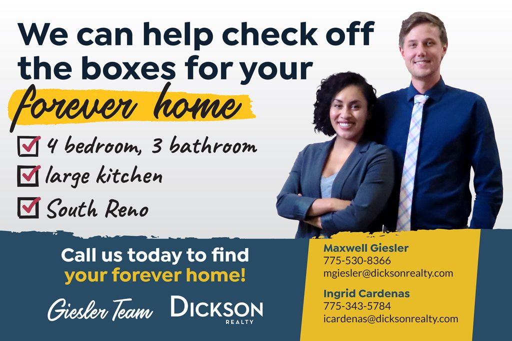"Real estate advertisement featuring a man and woman. Text reads ""We can help check off the boxes of your forever home"" and includes contact information for the Giesler Team at Dickson Realty."