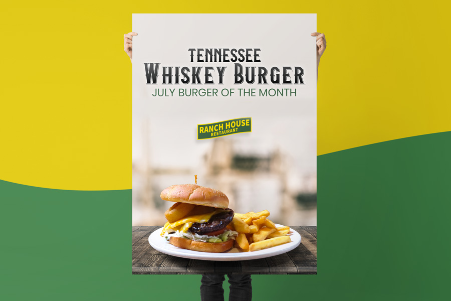 Burger of the month design on large poster