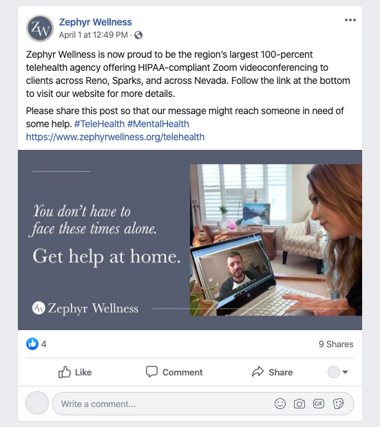 zephyr wellness facebook post
