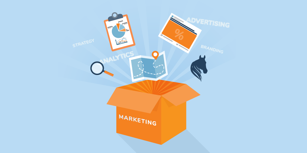 Box labeled marketing is flung open and elements of advertising, branding, strategy, and analytics float in the air
