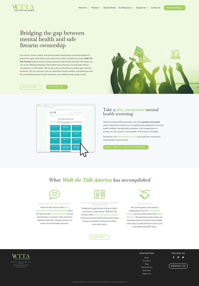 "Screenshot of WTTA.org's homepage featuring an ""About Us"" section, ""Free Anonymous Screenings"" section, and ""What Walk the Talk America has accomplished"" section in a calming pale green, white, and off-black color scheme"