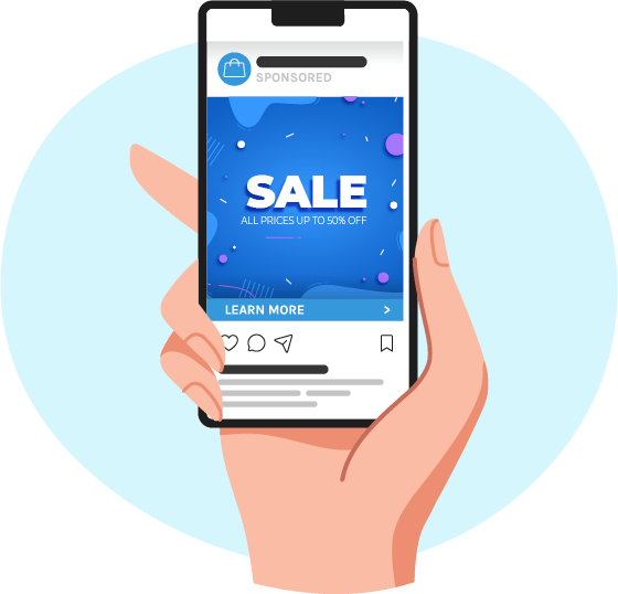 """A hand holds a phone with a social media ad that says """"Sale!"""" on a colorful blue background with abstract shapes. Below the ad, there is a bar that says """"Learn More"""""""