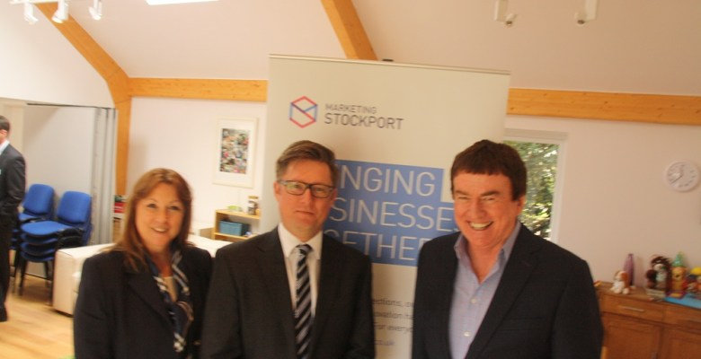 Marketing Stockport founders Helen White and Richard Higginson with economist and guest speaker John Ashcroft