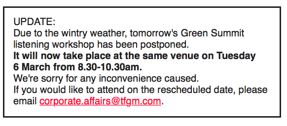 Green Summit POSTPONED to Tuesday March 6th