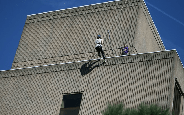 Bellyflop TV and Stockport LIVE abseiling for charity