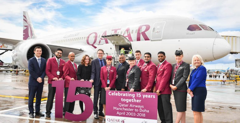Qatar airways celebrates 15 years at Manchester Airport