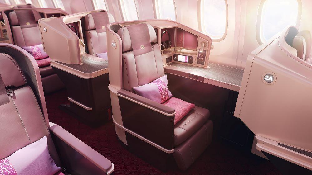Juneyao Air's business class cabins