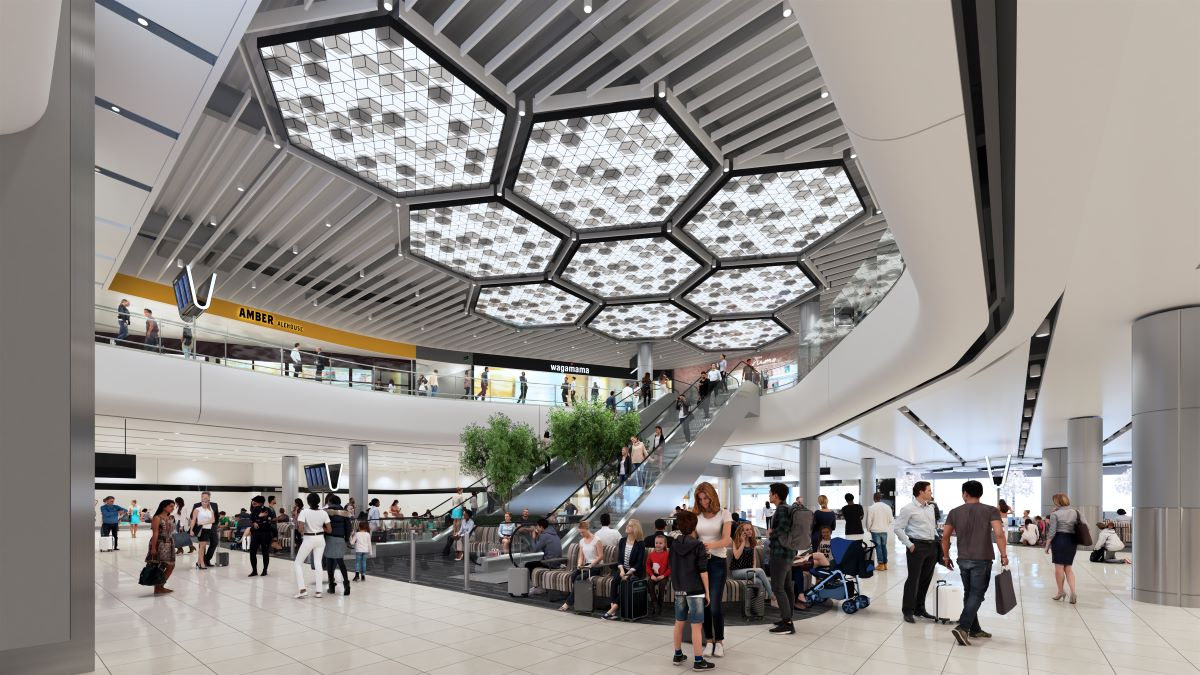 New features unveiled include a honeycomb light installation at Manchester Airport Terminal 2