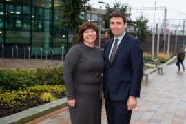 Cllr Elise Wilson with Greater Manchester Mayor Andy Burnham