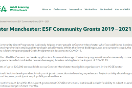 Greater Manchester ESF Covid-19 Community Grants