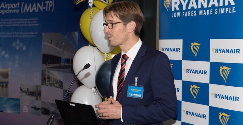 Ryanair's Tim Howe Schroeder gives a speech to the crowd all about the three new routes to Berlin, Nuremberg and Hamburg
