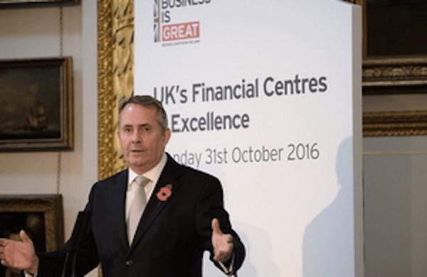 Dr Liam Fox Financial Services UK Export success